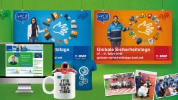 BASF Werbeplakate und Artikel zu Globalen Sicherheitstagen