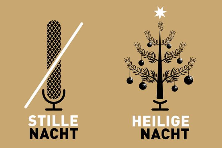Durchgestrichenes Mikrofon und glitzernder Weihnachtsbaum